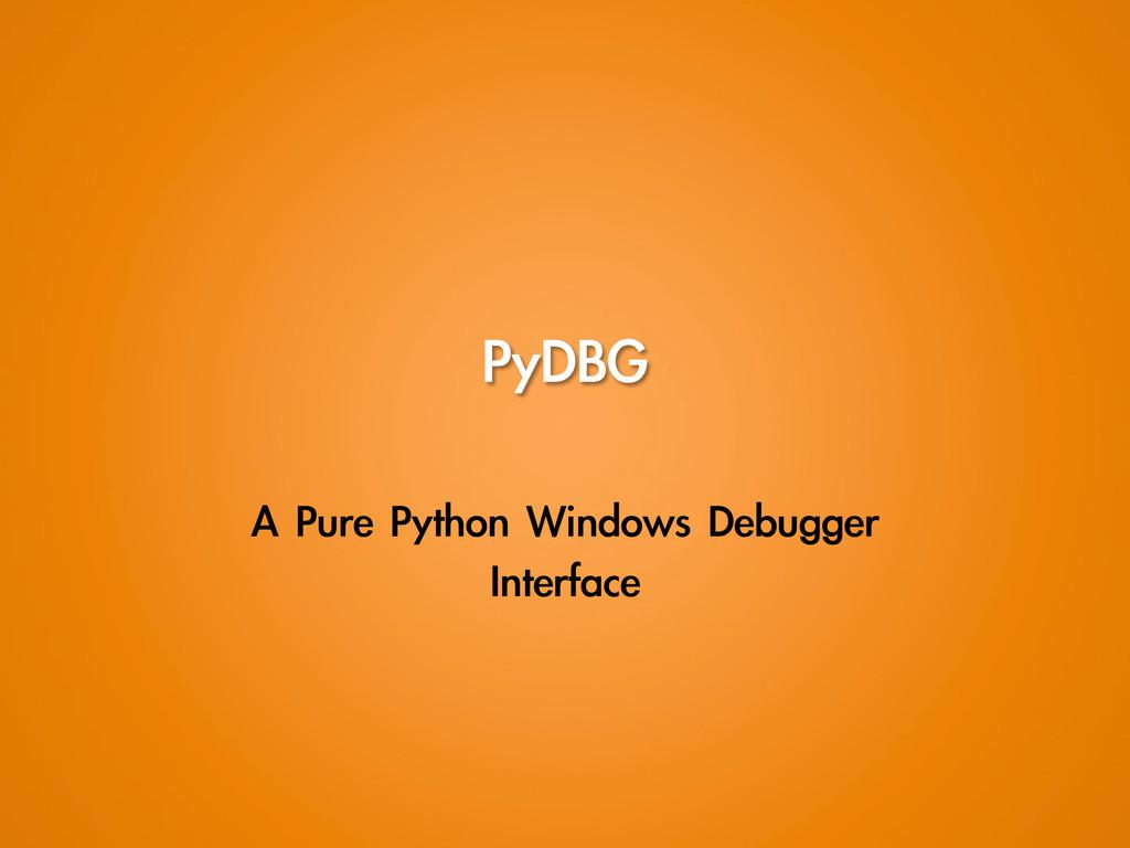 PyDBG A Pure Python Windows Debugger  Int...