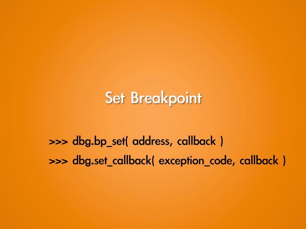 Set Breakpoint >>> dbg.bp_set( address, ca...