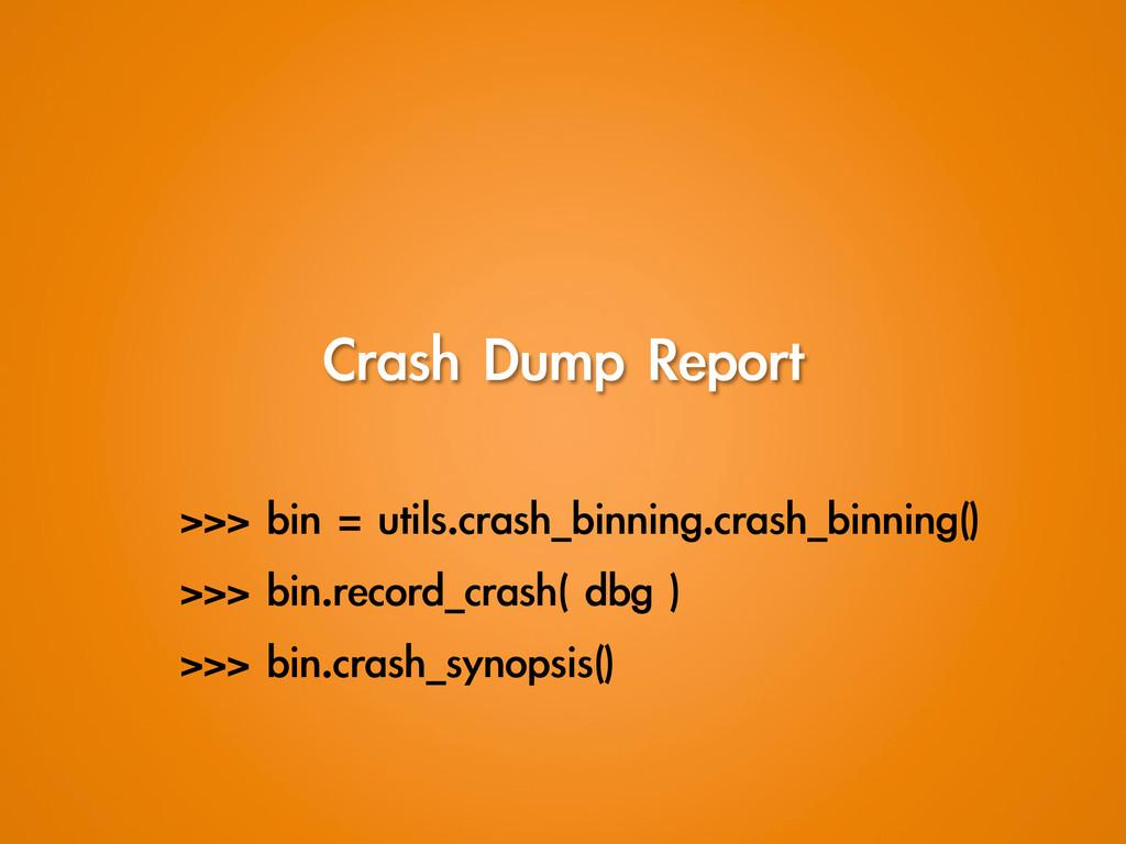 Crash Dump Report >>> bin = utils.crash_b...