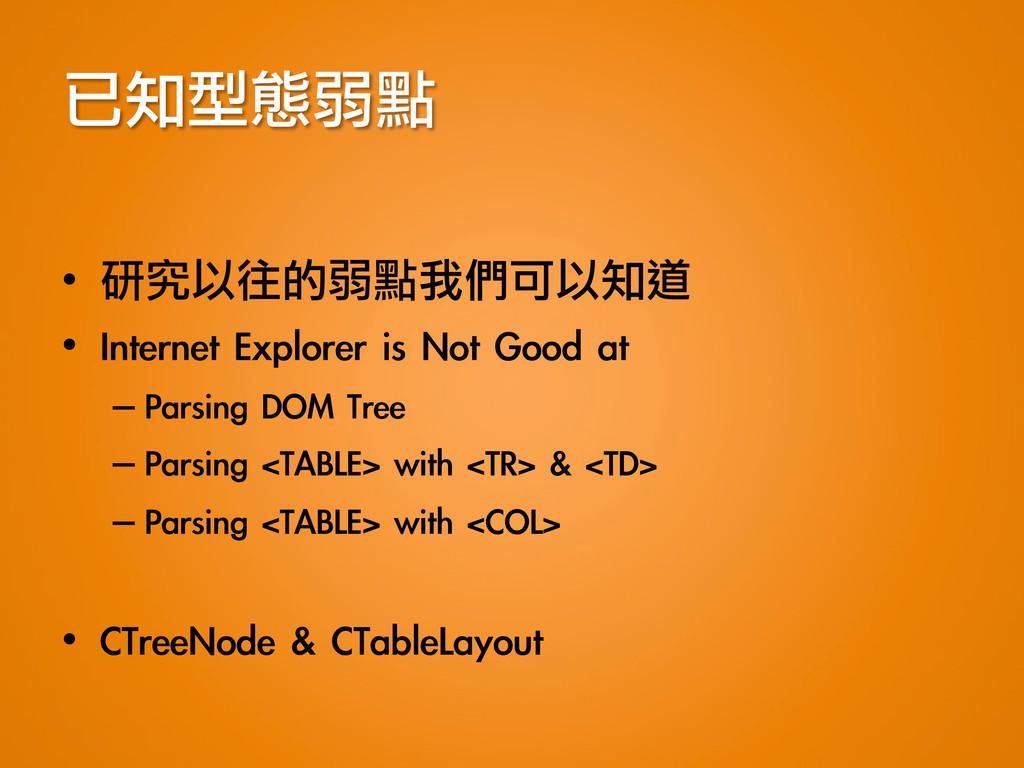 已知型態弱點 • 研究以往的弱點我們可以知道 • Internet Explorer...