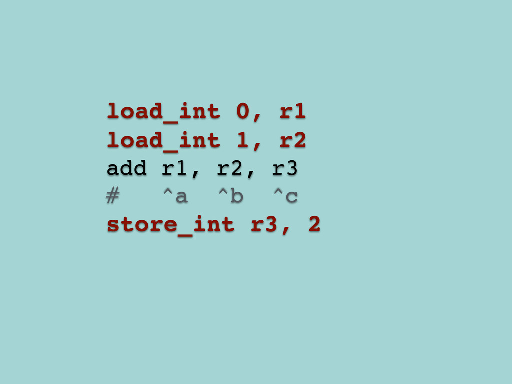load_int 0, r1! load_int 1, r2! add r1, r2, r3!...