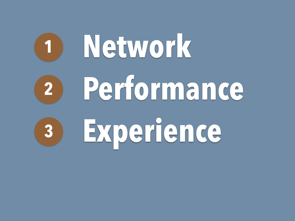Network 1 Performance 2 Experience 3