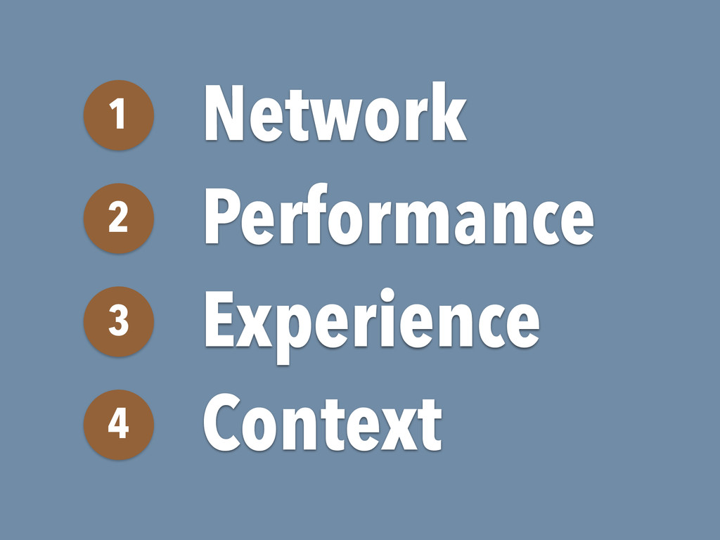 Network 1 Performance 2 Experience 3 Context 4