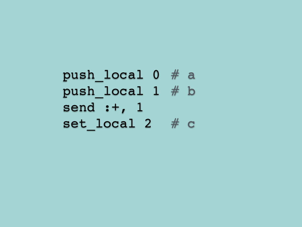 push_local 0! # a! push_local 1 ! # b! send :+,...
