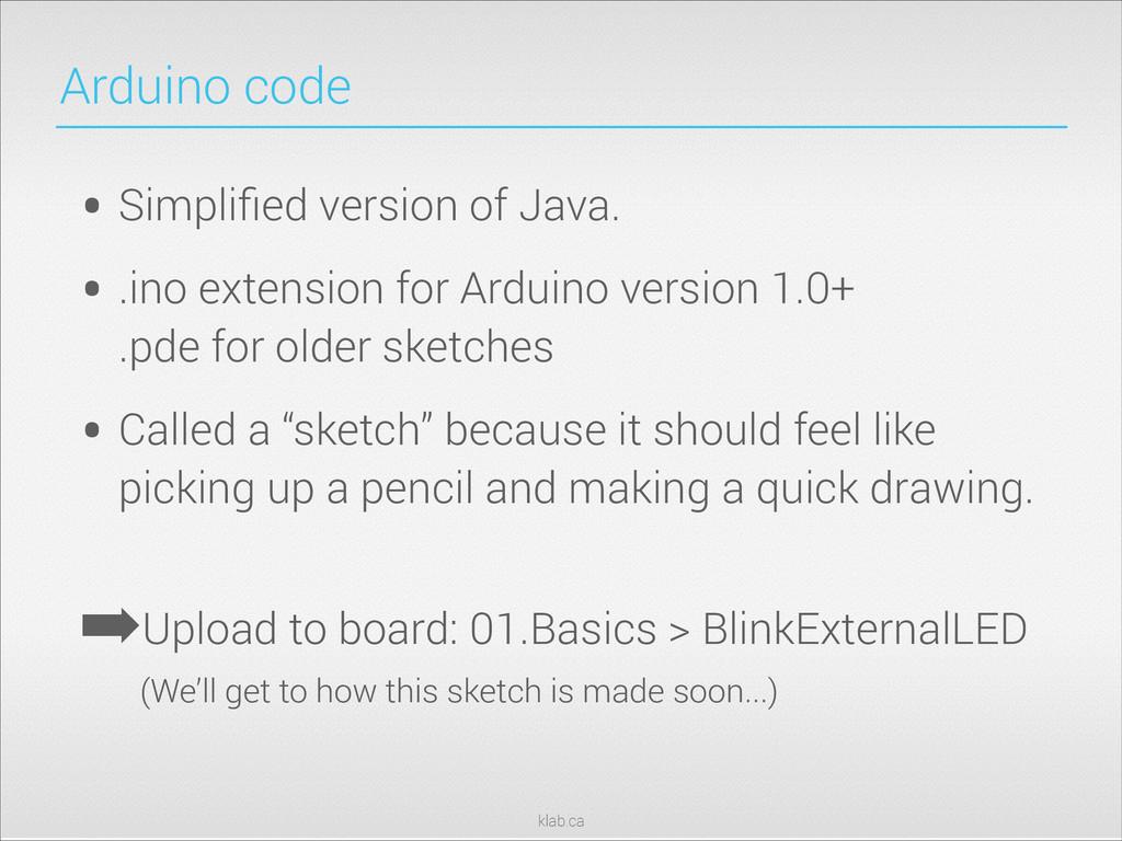 klab.ca Arduino code • Simplified version of Jav...