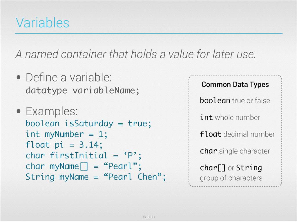 klab.ca Variables • Define a variable: datatype...