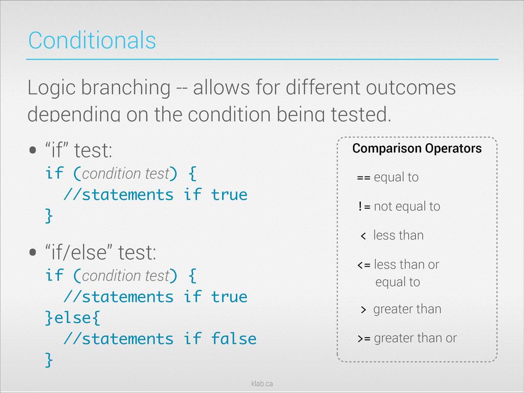 "klab.ca Conditionals • ""if"" test: if (conditio..."