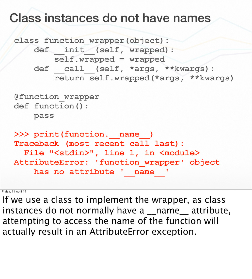Class instances do not have names class functio...