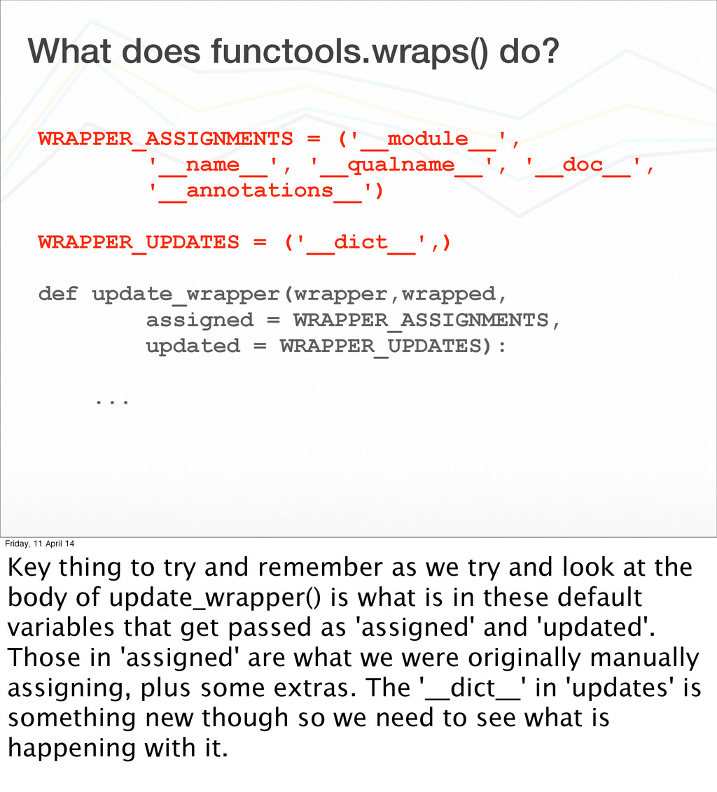 What does functools.wraps() do? WRAPPER_ASSIGNM...