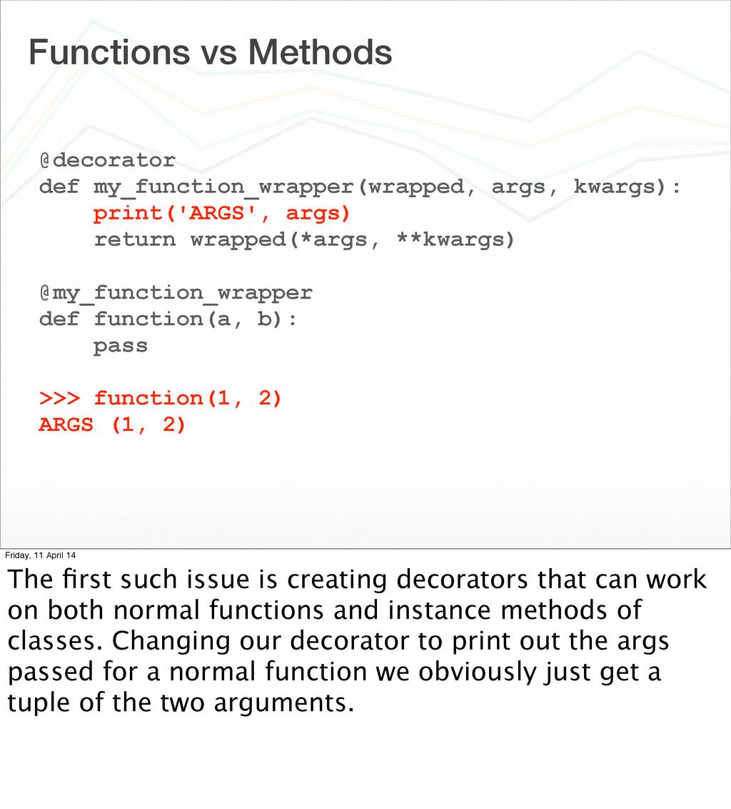 Functions vs Methods @decorator def my_function...