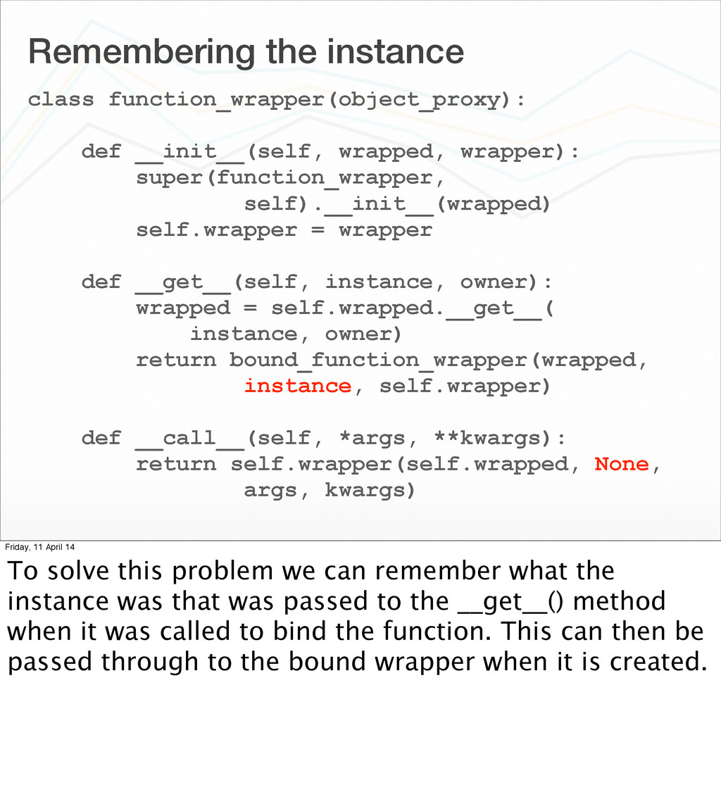 Remembering the instance class function_wrapper...