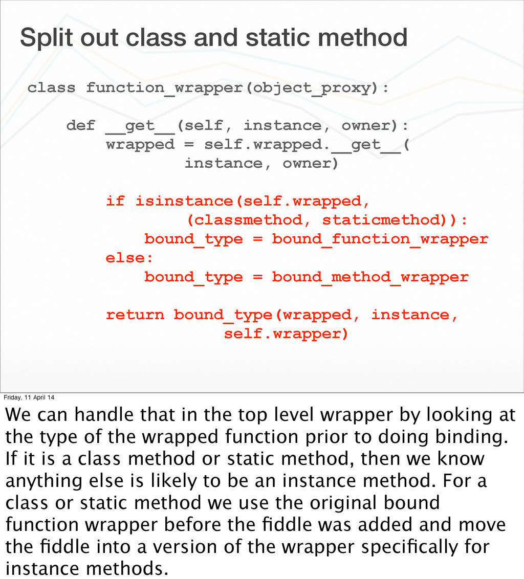 Split out class and static method class functio...