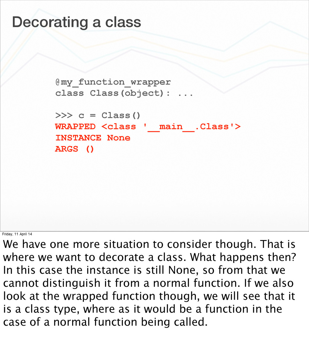 Decorating a class @my_function_wrapper class C...