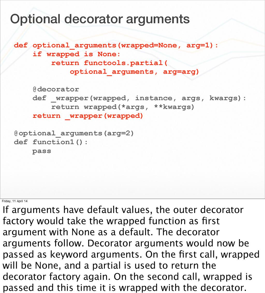 Optional decorator arguments def optional_argum...