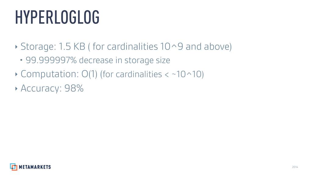 2014 ‣ Storage: 1.5 KB ( for cardinalities 10^9...