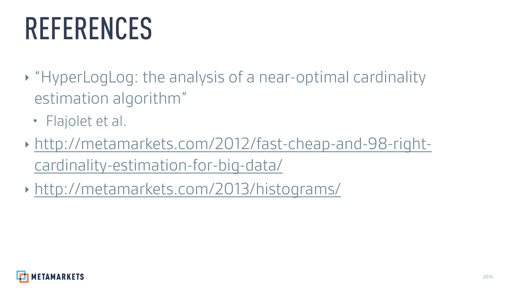 "2014 ‣ ""HyperLogLog: the analysis of a near-opt..."