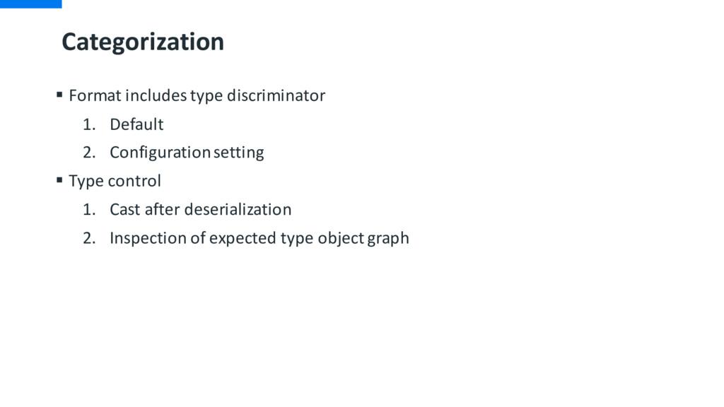Categorization § Format includes type discrimin...