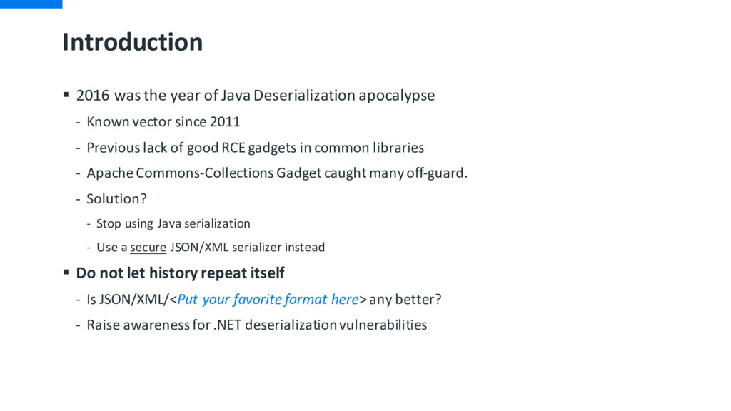 Introduction § 2016 was the year of Java Deseri...
