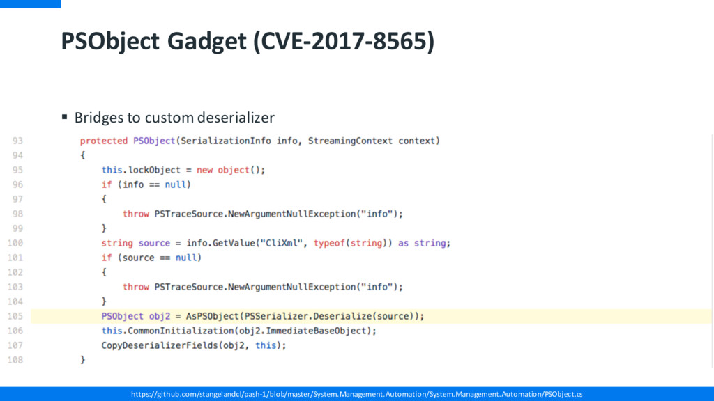 PSObject Gadget (CVE-2017-8565) § Bridges to cu...