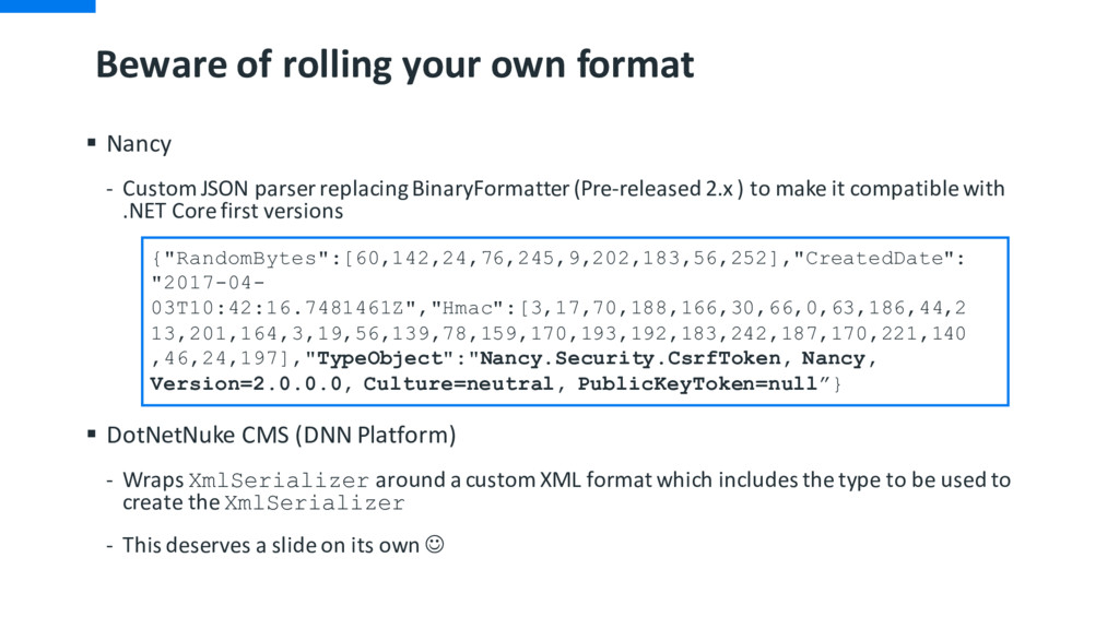 Beware of rolling your own format § Nancy - Cus...