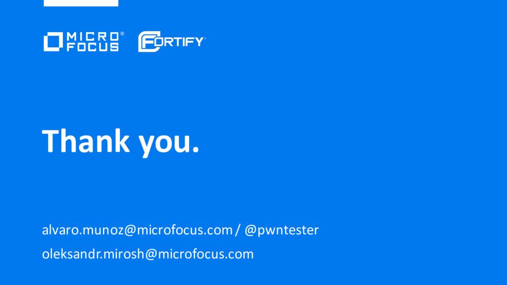 Thank you. alvaro.munoz@microfocus.com / @pwnte...