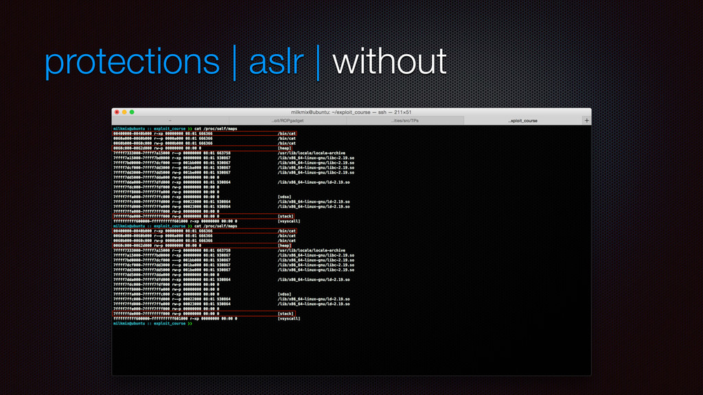 protections | aslr | without