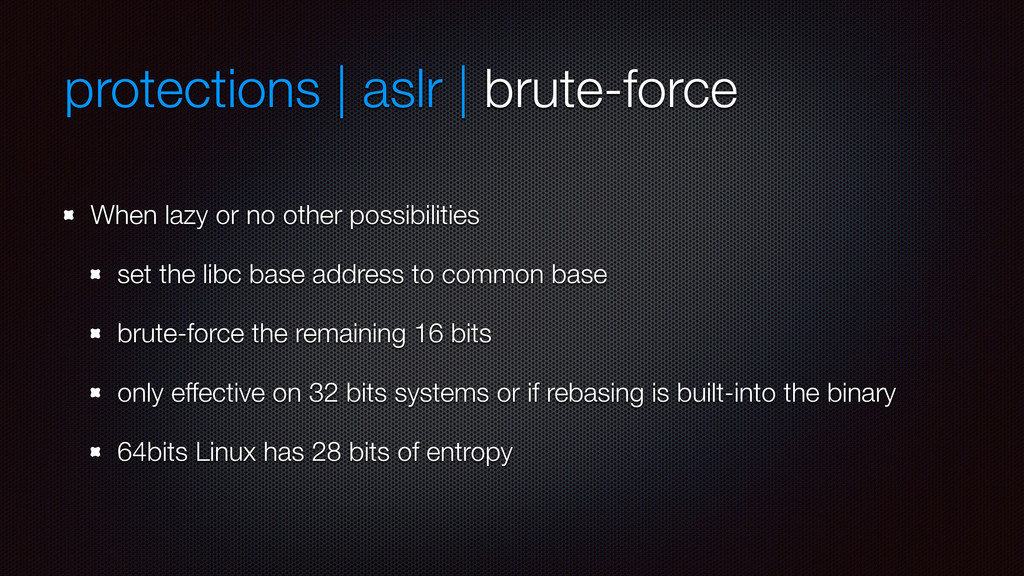 protections | aslr | brute-force When lazy or n...