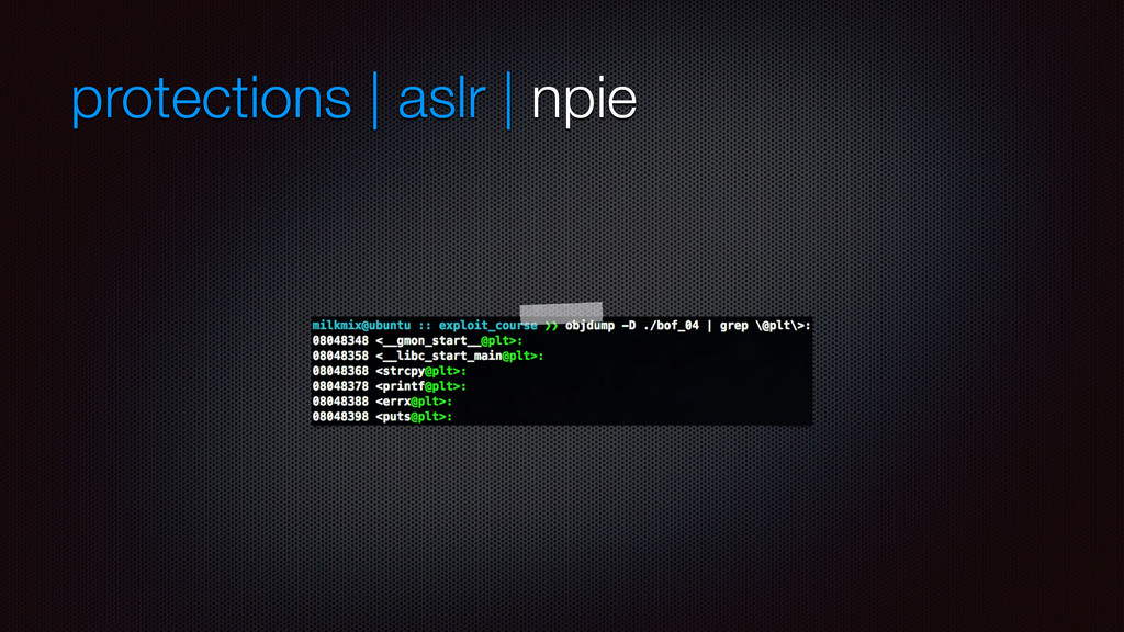 protections | aslr | npie