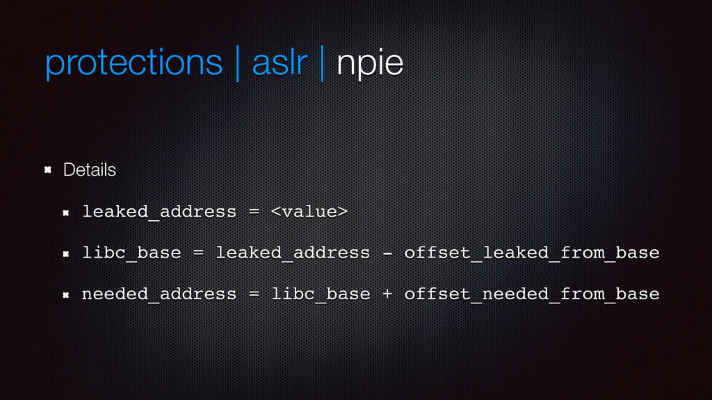 protections | aslr | npie Details leaked_addres...