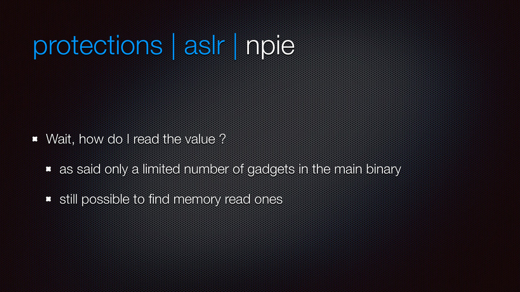 protections | aslr | npie Wait, how do I read t...