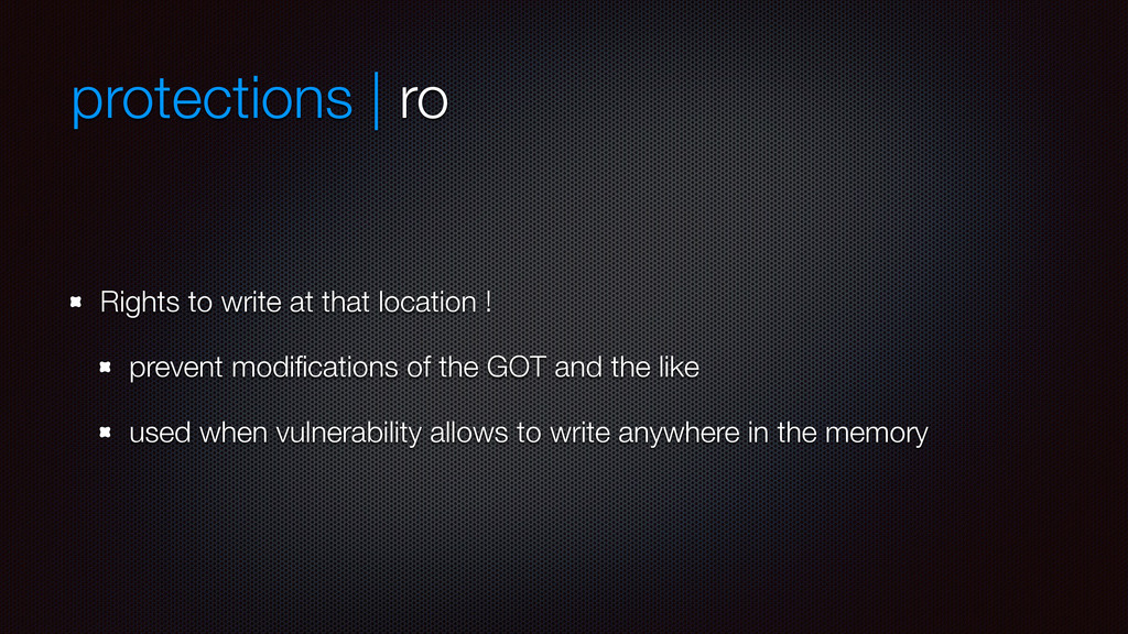protections | ro Rights to write at that locati...