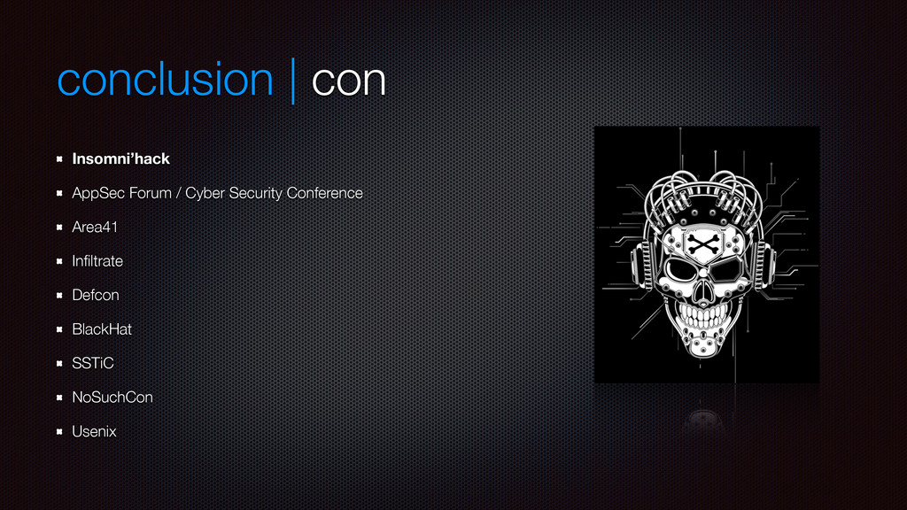 conclusion | con Insomni'hack AppSec Forum / Cy...