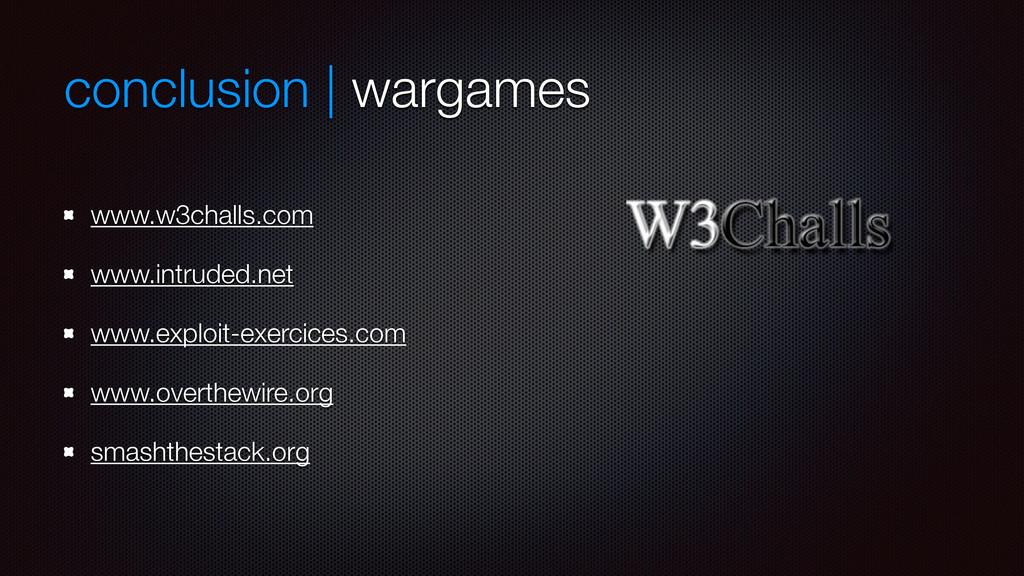 conclusion | wargames www.w3challs.com www.intr...