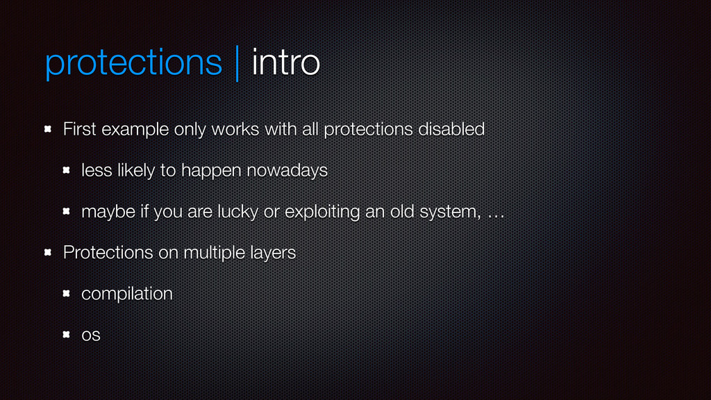 protections | intro First example only works wi...