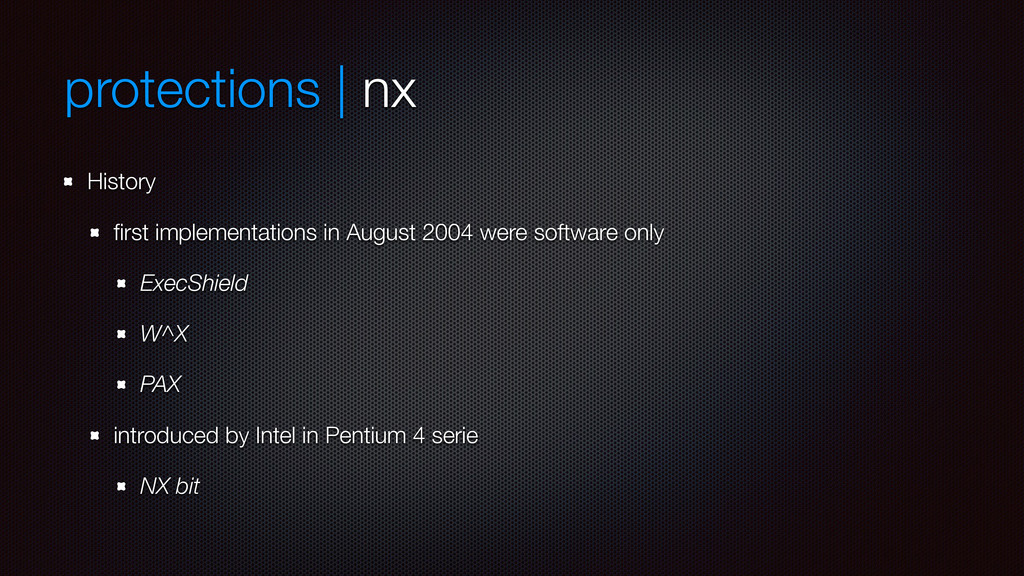 protections | nx History first implementations i...