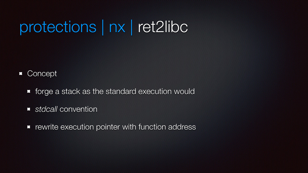 protections | nx | ret2libc Concept forge a sta...