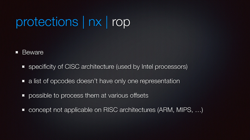 protections | nx | rop Beware specificity of CIS...