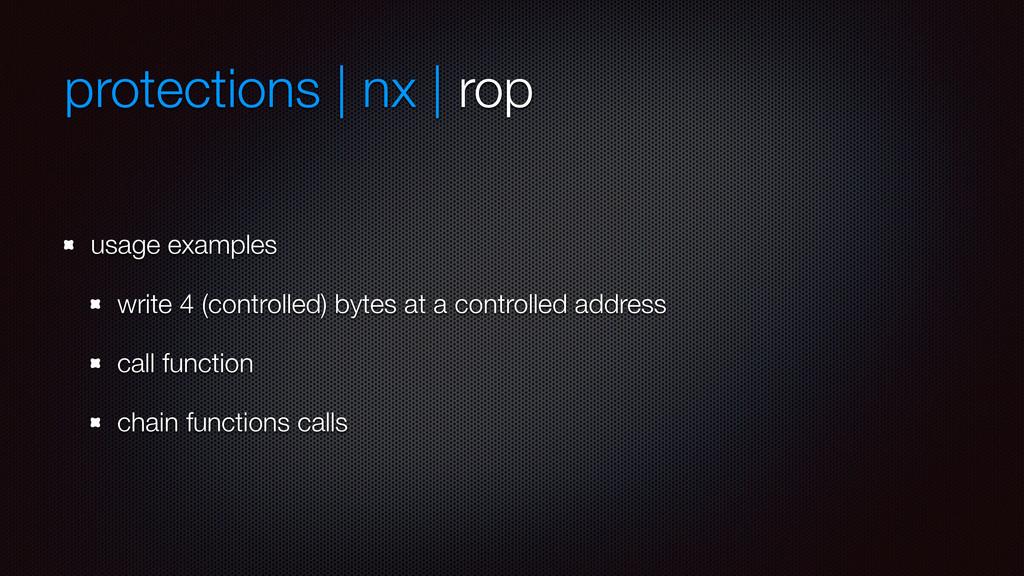 protections | nx | rop usage examples write 4 (...