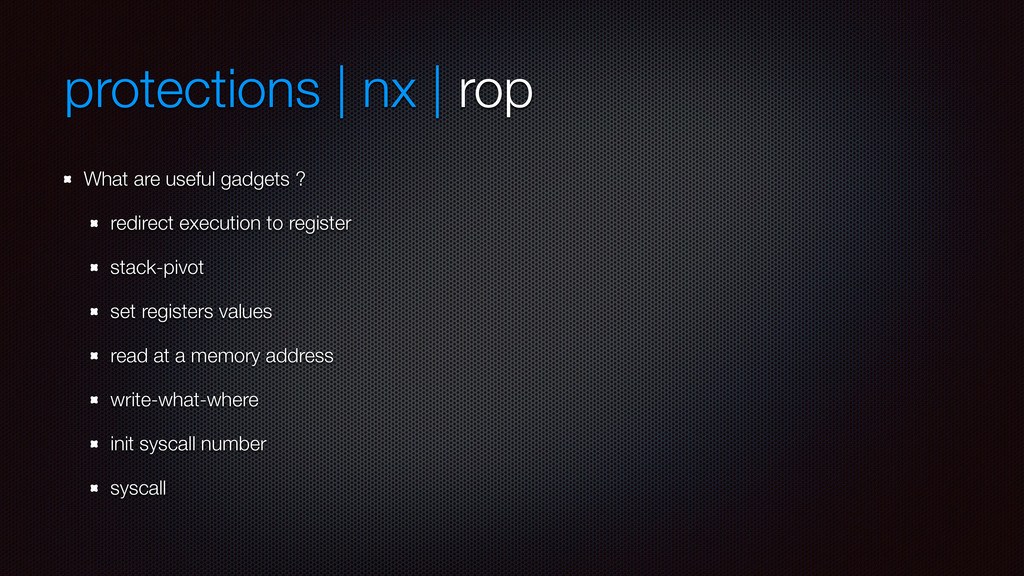 protections | nx | rop What are useful gadgets ...