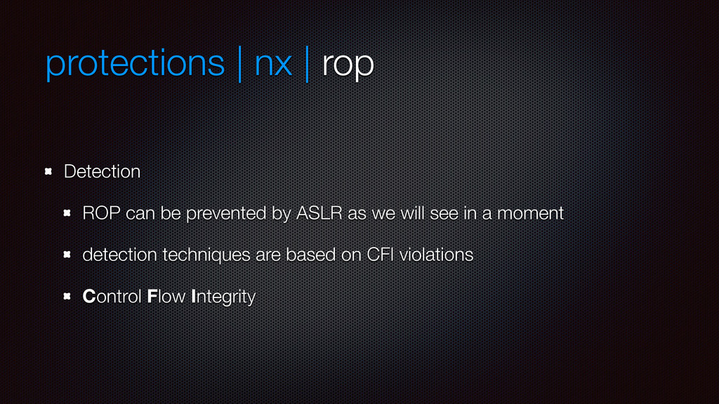 protections | nx | rop Detection ROP can be pre...