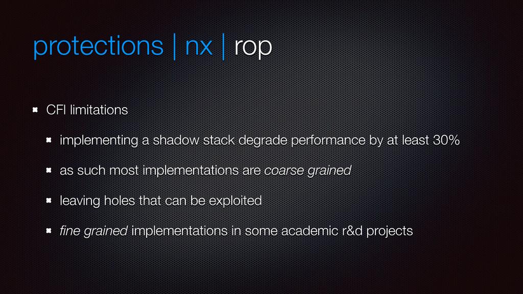 protections | nx | rop CFI limitations implemen...