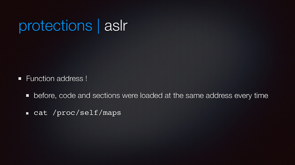 protections | aslr Function address ! before, c...