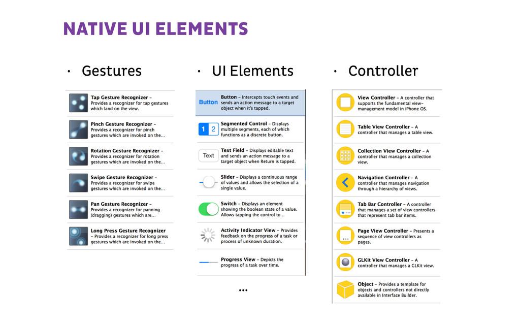 NATIVE UI ELEMENTS • Gestures • UI Elements • C...