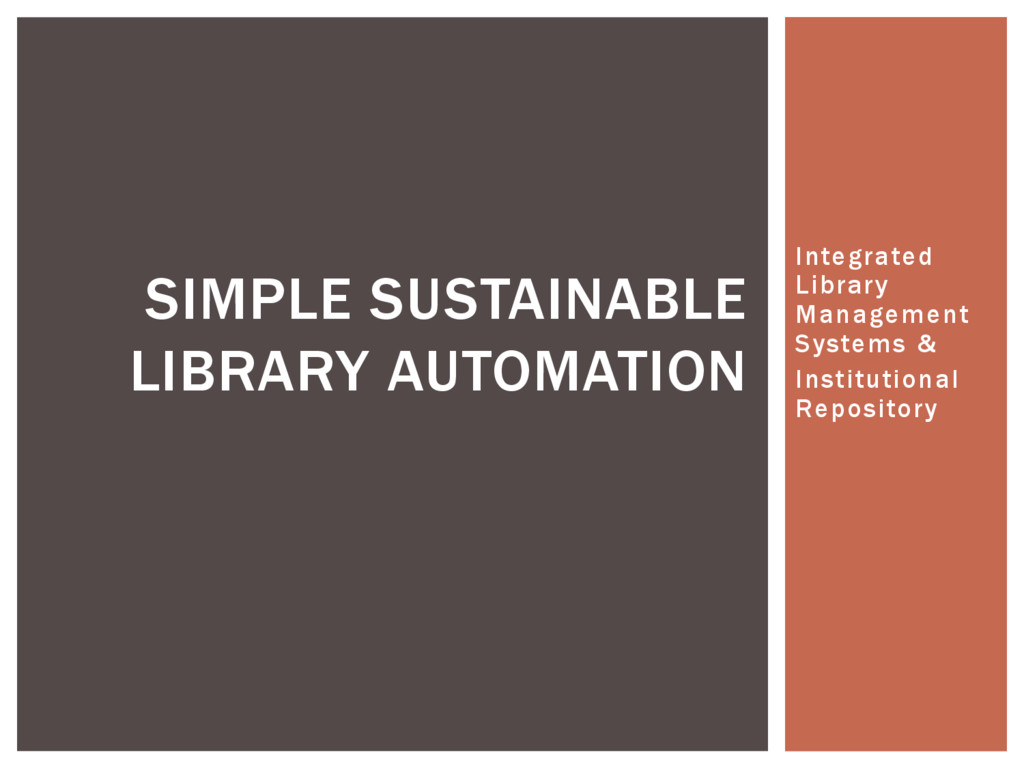 Integrated Library Management Systems & Institu...