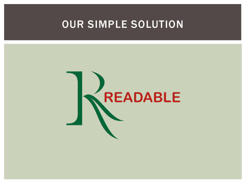 OUR SIMPLE SOLUTION