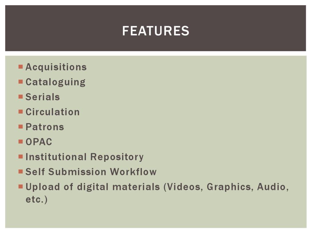  Acquisitions  Cataloguing  Serials  Circul...