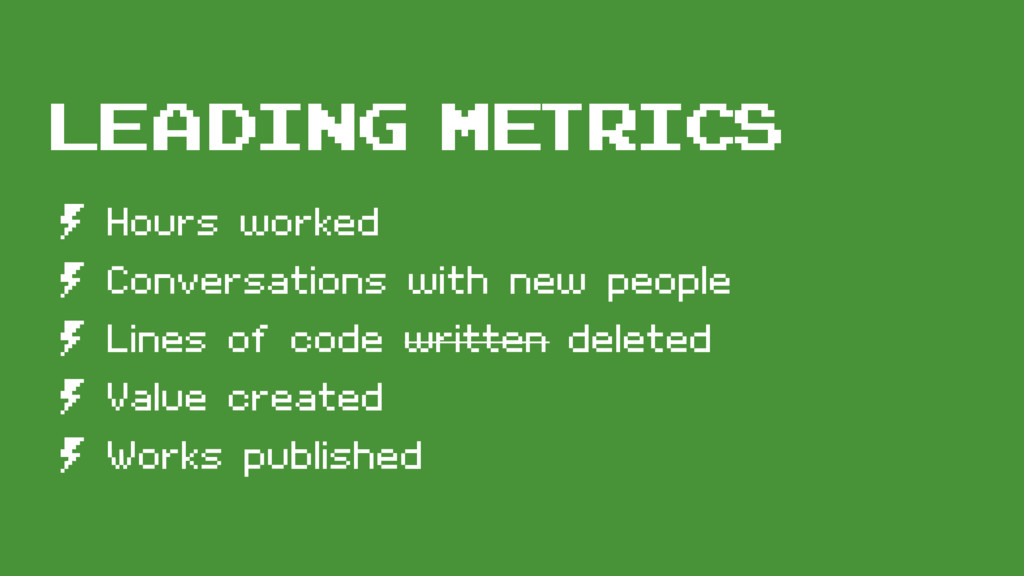 Leading MEtrics º Hours worked º Conversations ...