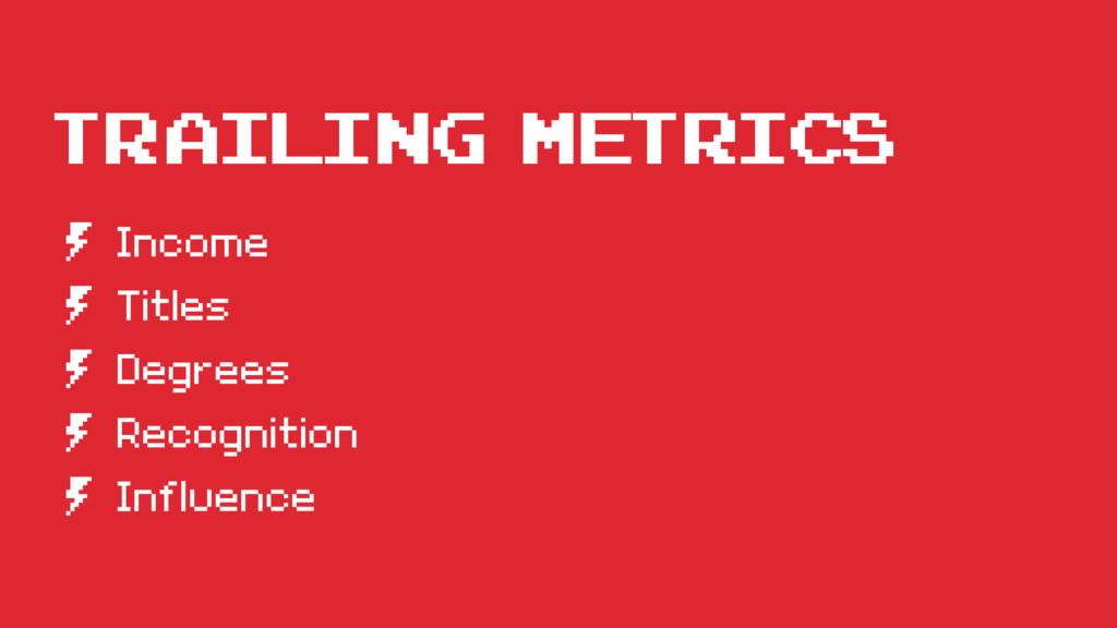 Trailing Metrics º Income º Titles º Degrees º ...