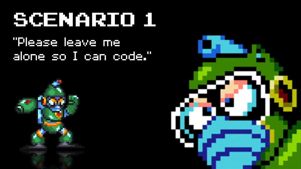 """SCENARIO 1 """"Please leave me alone so I can code..."""
